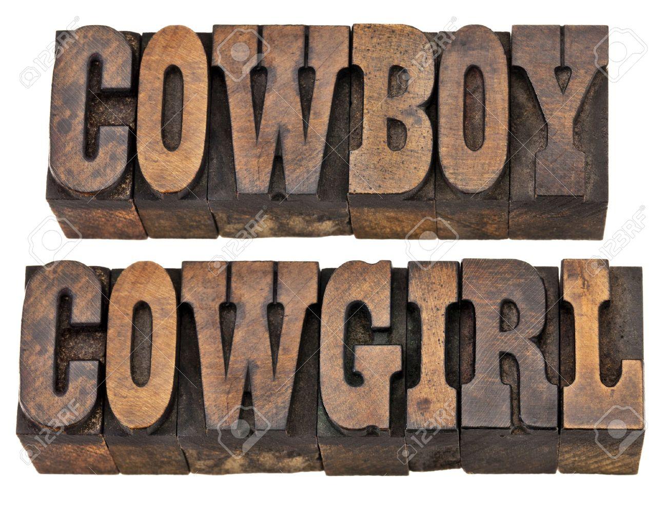 Vaqueros Y Vaqueras Aislado Palabras En El Tipo De Cosecha De