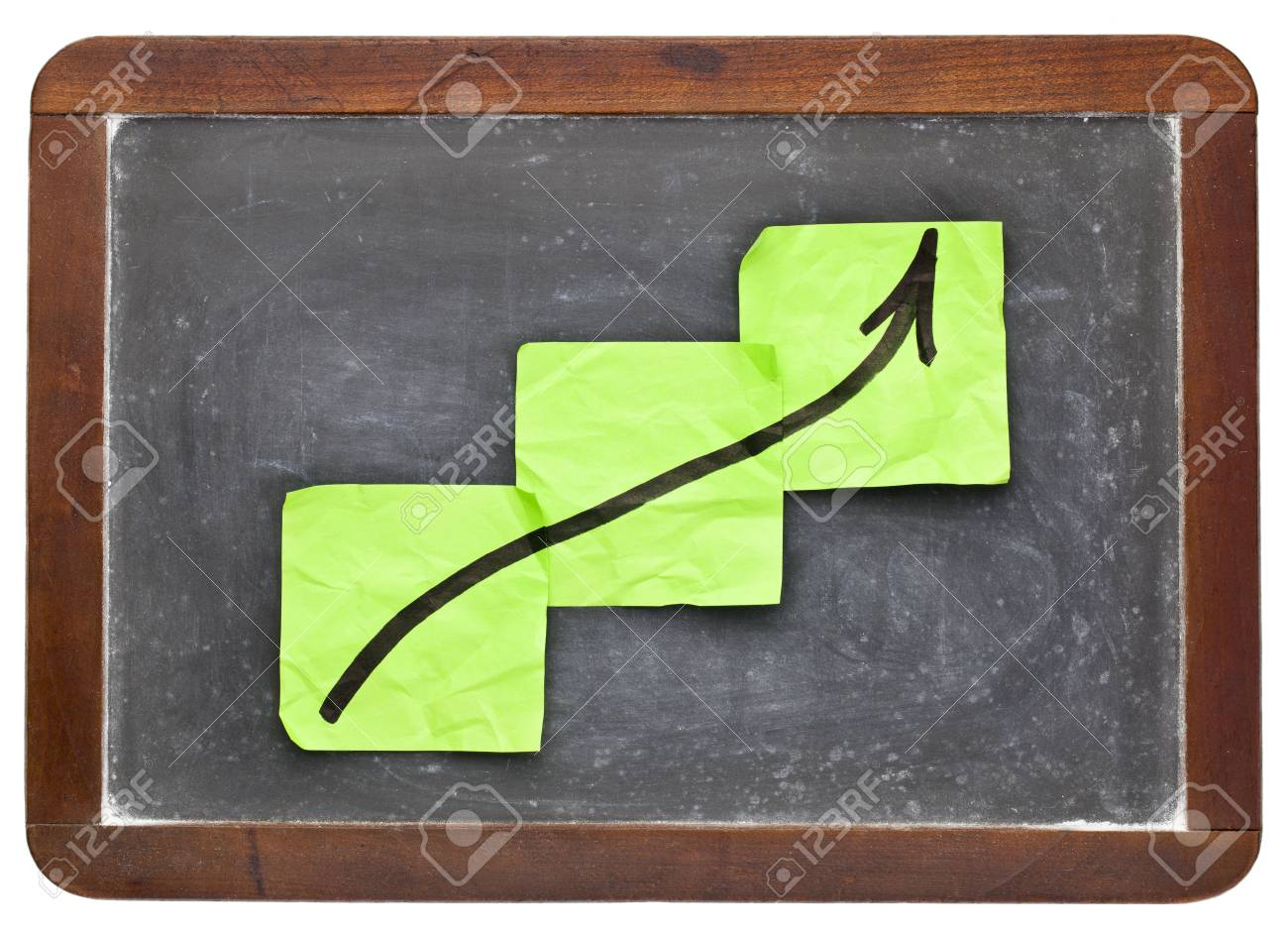 growth concept - sticky notes on vintage slate  blackboard isolated on white Stock Photo - 13222922