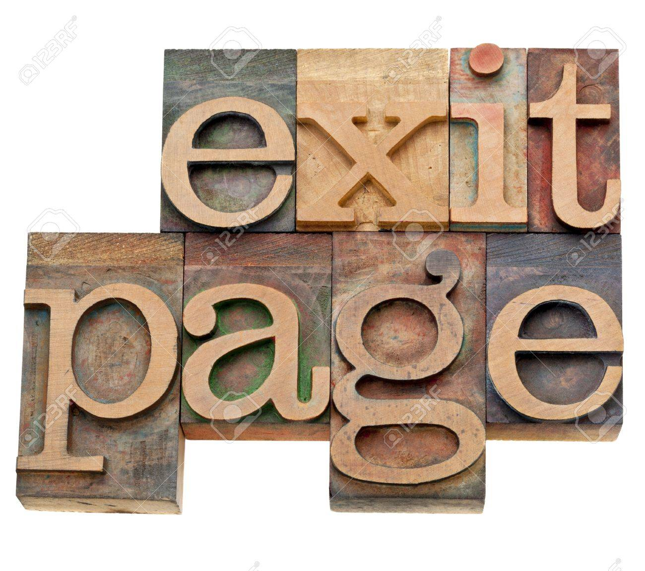 exit page - internet and SEO concept - isolated words in vintage letterpress wood type Stock Photo - 13261444