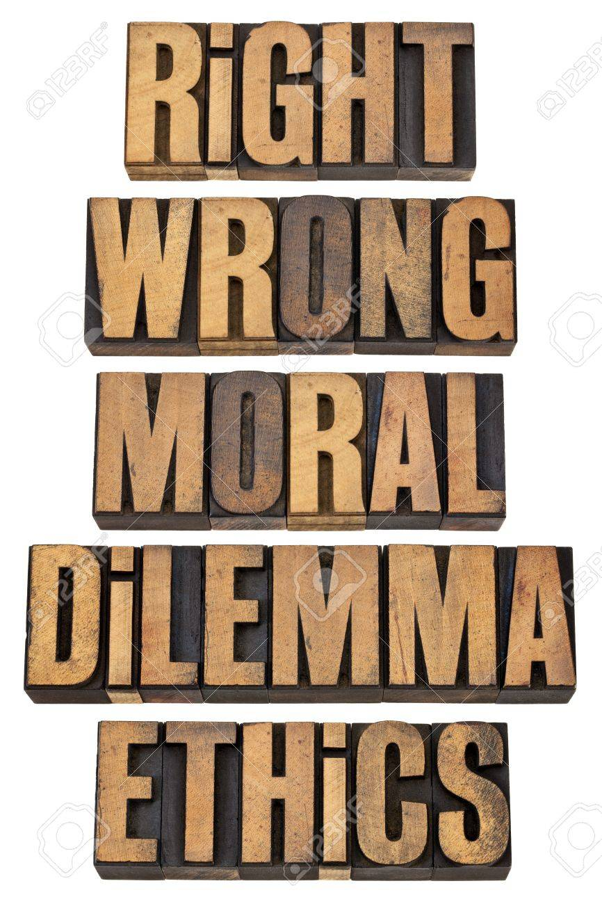 right, wrong, moral dilemma, ethics - ethical choice concept - a collage of isolated words in vintage letterpress wood type Stock Photo - 13331790
