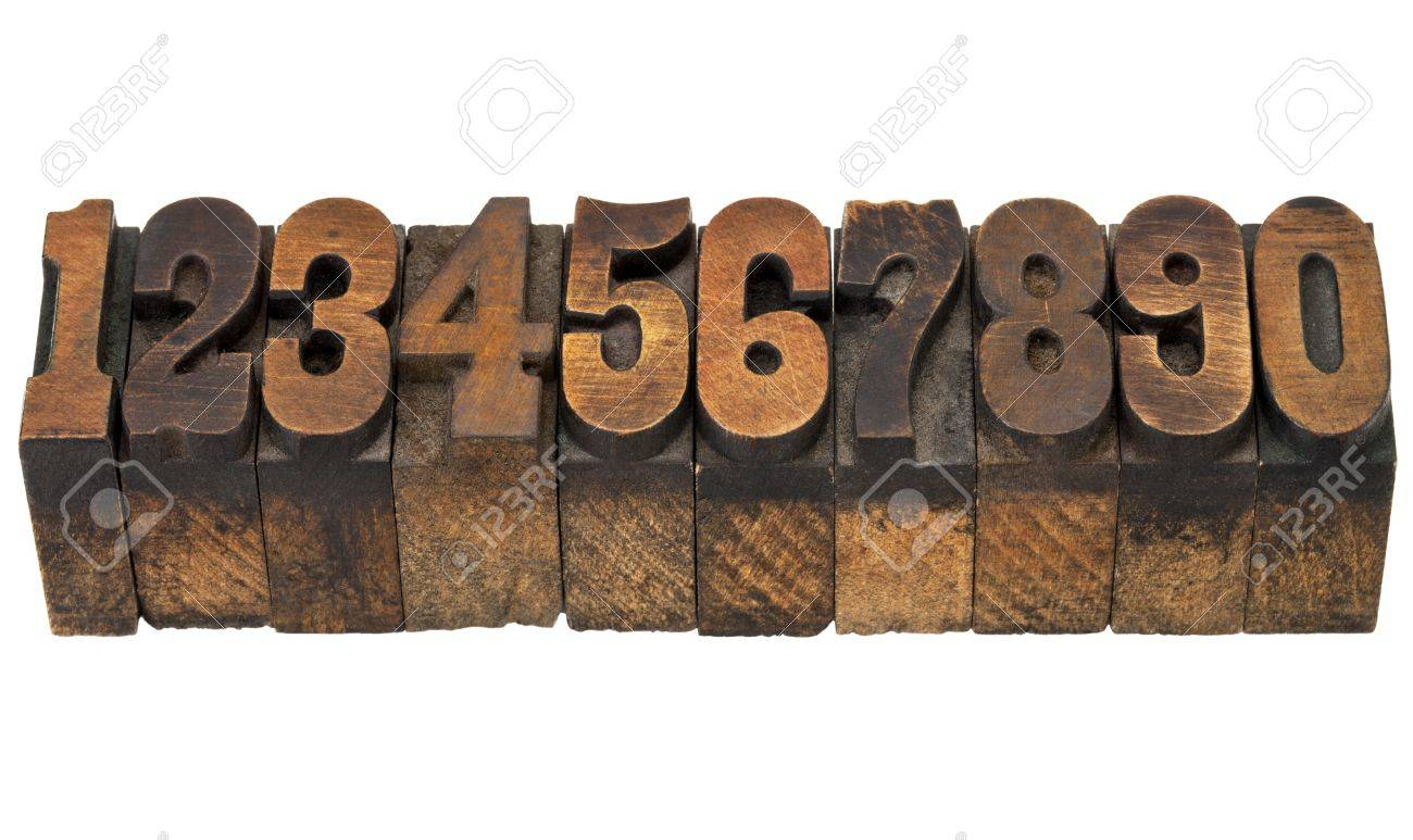 ten numbers from zero to nine in isolated vintage wood letterpress printing blocks, French Clarendon face popular in western movies and memorabilia Stock Photo - 13378886