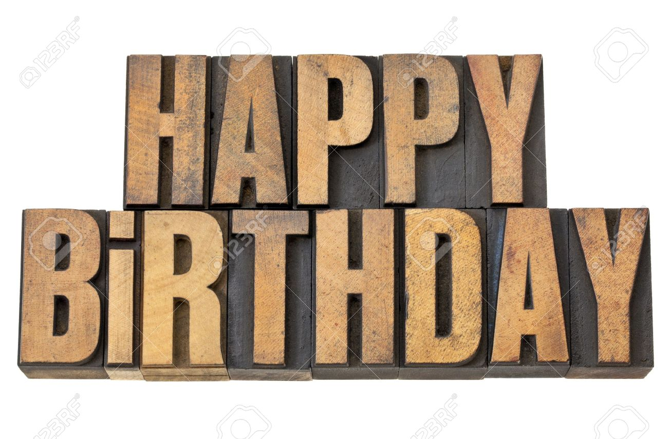happy birthday greetings - isolated words in vintage letterpress wood type Stock Photo - 13378896