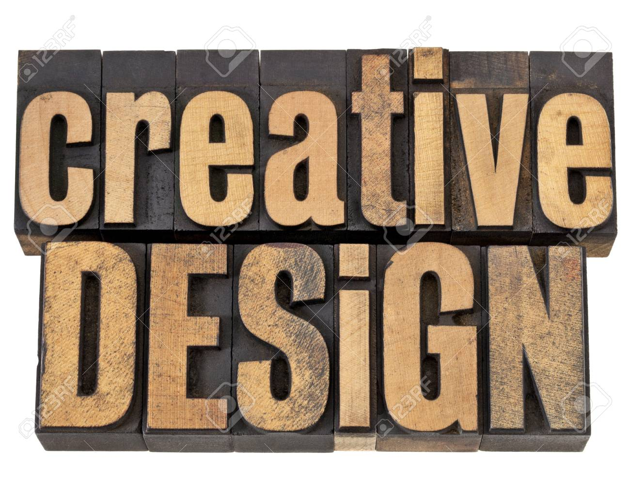 creative design - creativity concept - isolated text in vintagw letterpress wood type Stock Photo - 13710293