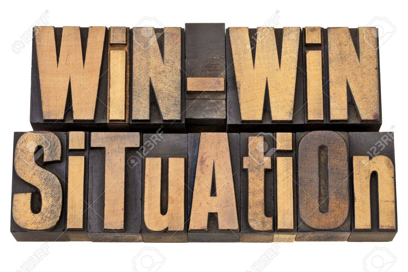 win-win situation - successful outcome of negotiation or conflict resolution concept - isolated words in vintage wood type Stock Photo - 13794953
