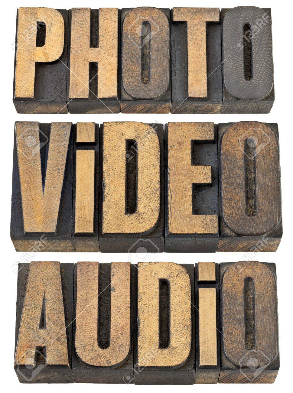 photo, video, audio words  - multimedia concept - a collage of isolated text in vintage letterpress wood type Stock Photo - 14258800