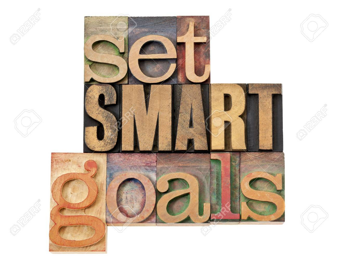 set SMART goals  - isolated text in vintage letterpress wood type Stock Photo - 14288568