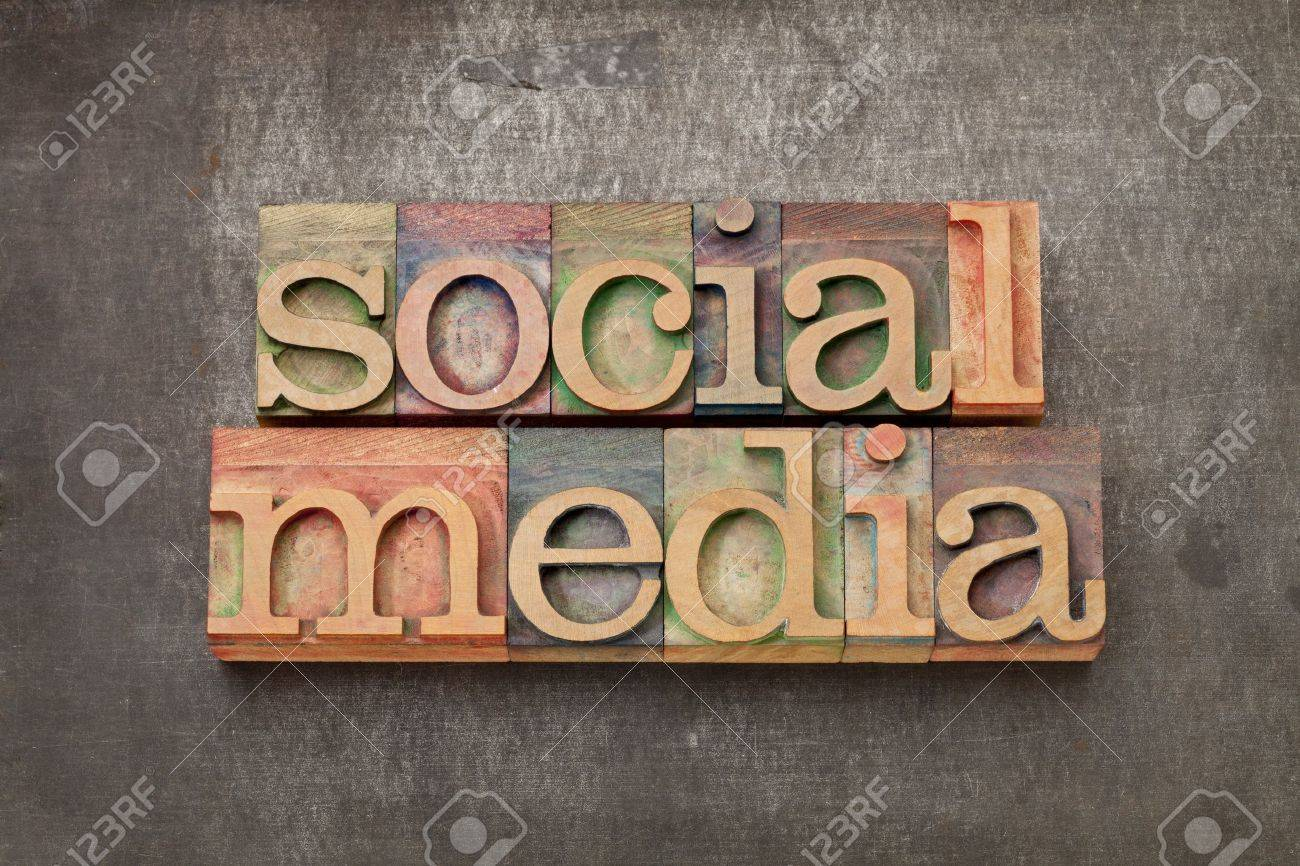 social media - internet networking concept - text in vintage letterpress wood type against grunge metal surface Stock Photo - 14294839