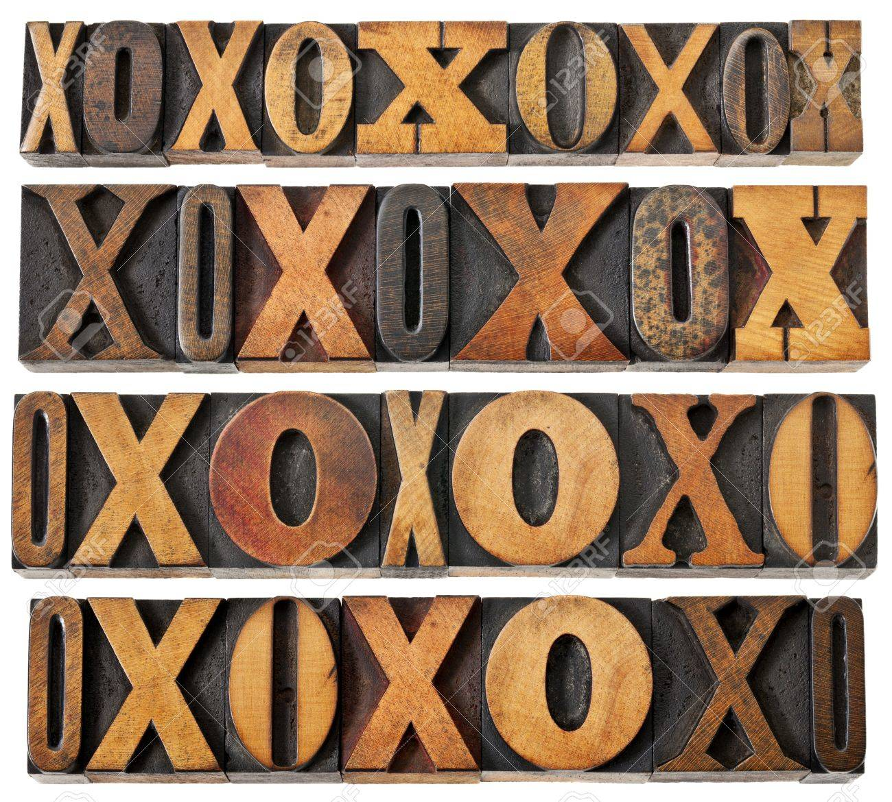 letters O and X in vintage letterpress wood type - four rows of different fonts - decoration or design elements Stock Photo - 14294841