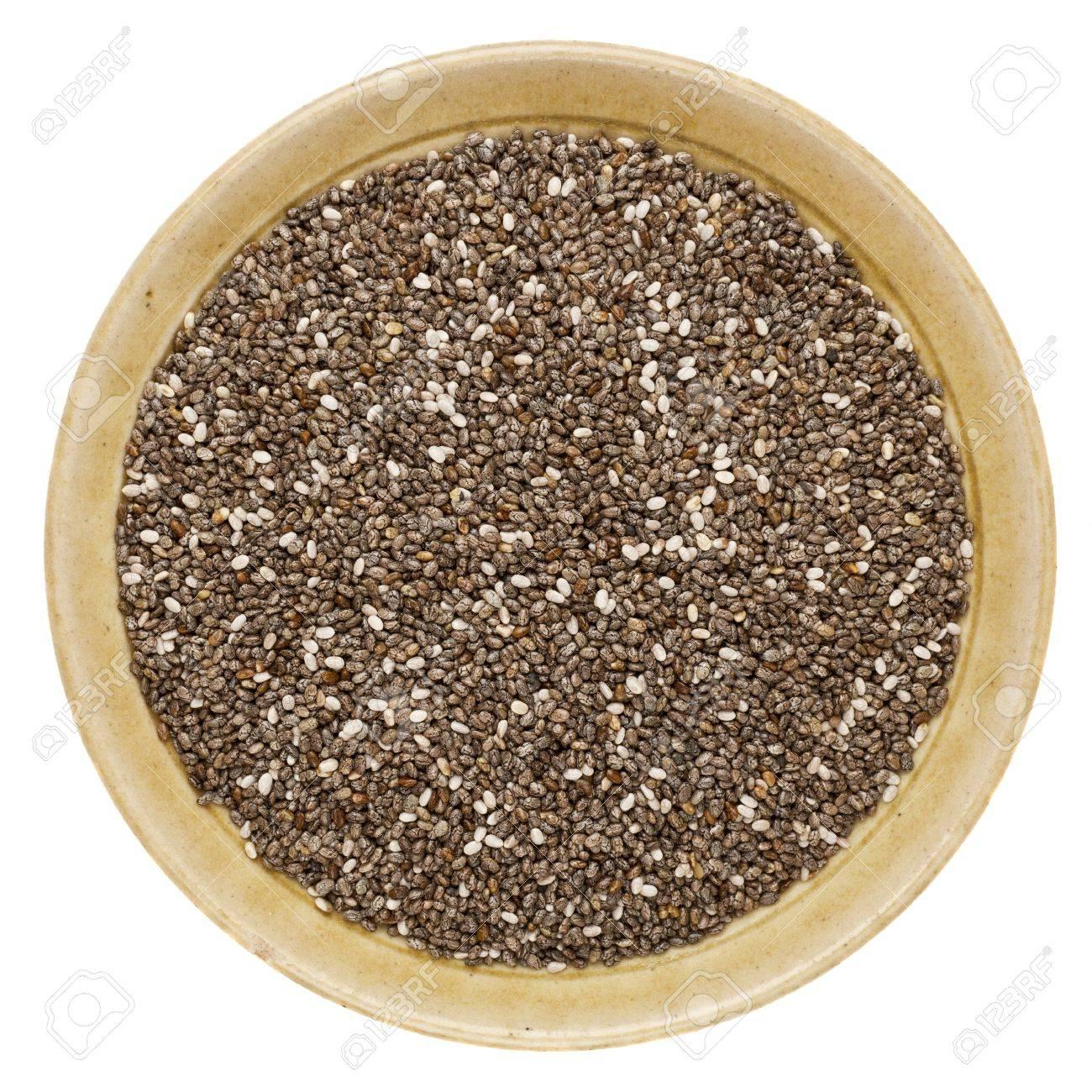 chia seeds (Salvia Hispanica) in a round ceramic bowl isolated on white Stock Photo - 15031367