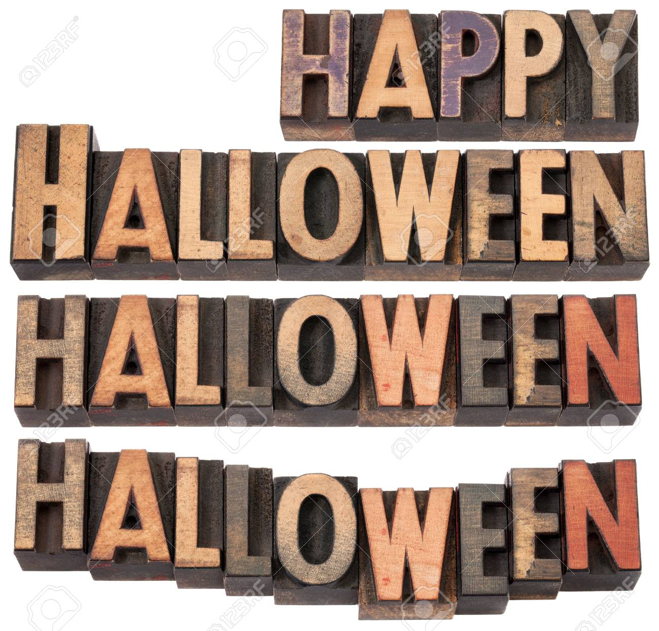 Happy Halloween - collage of isolated text in vintage letterpress wood type, different layouts Stock Photo - 15523482