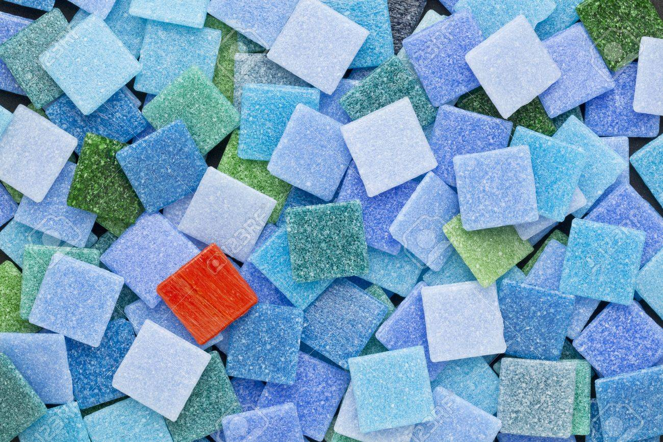 Random Background Of Blue And Green Glass Mosaic Tiles With.. Stock ...