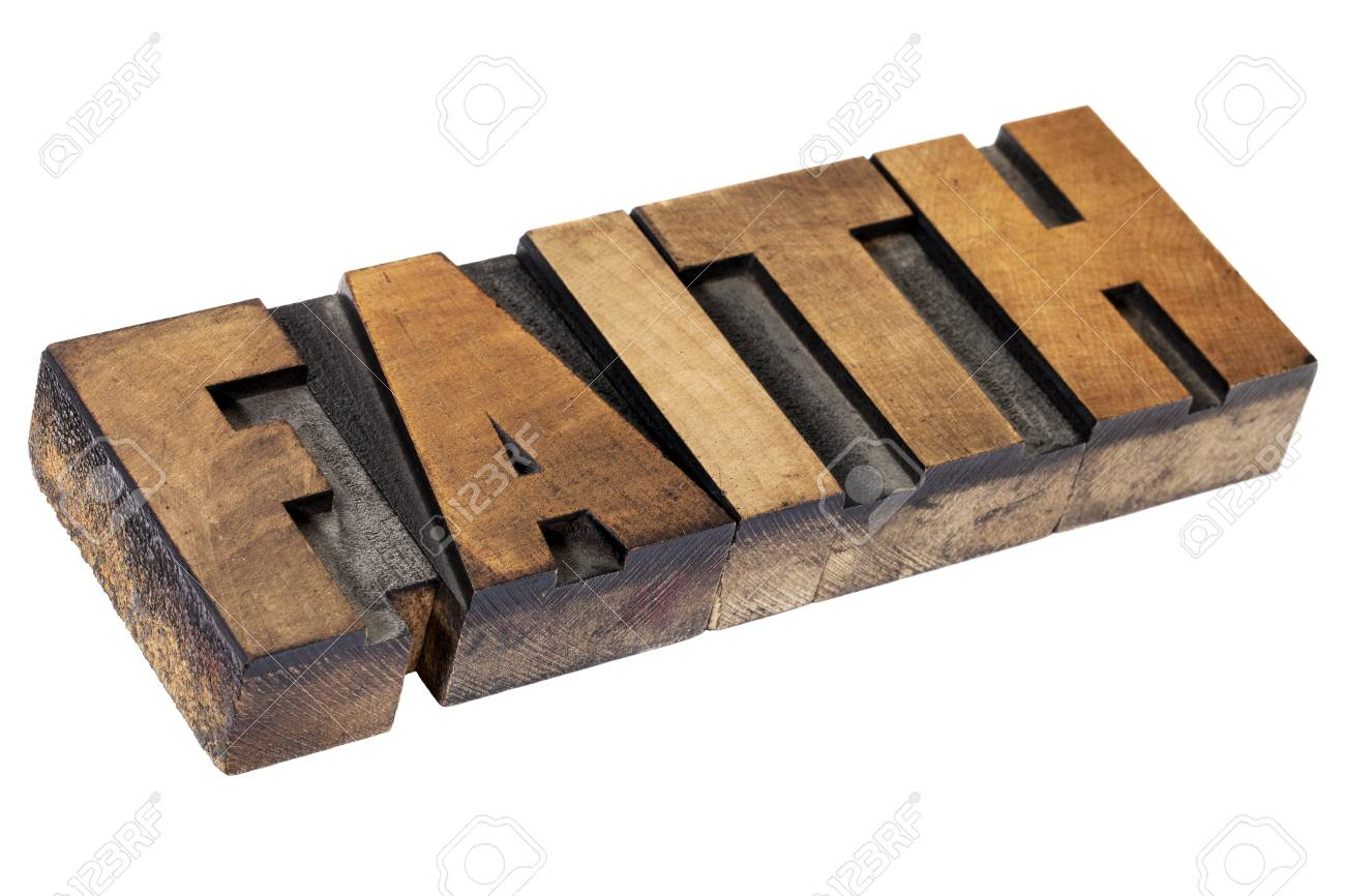 faith - isolated text in vintage letterpress wood type printing blocks Stock Photo - 15476525