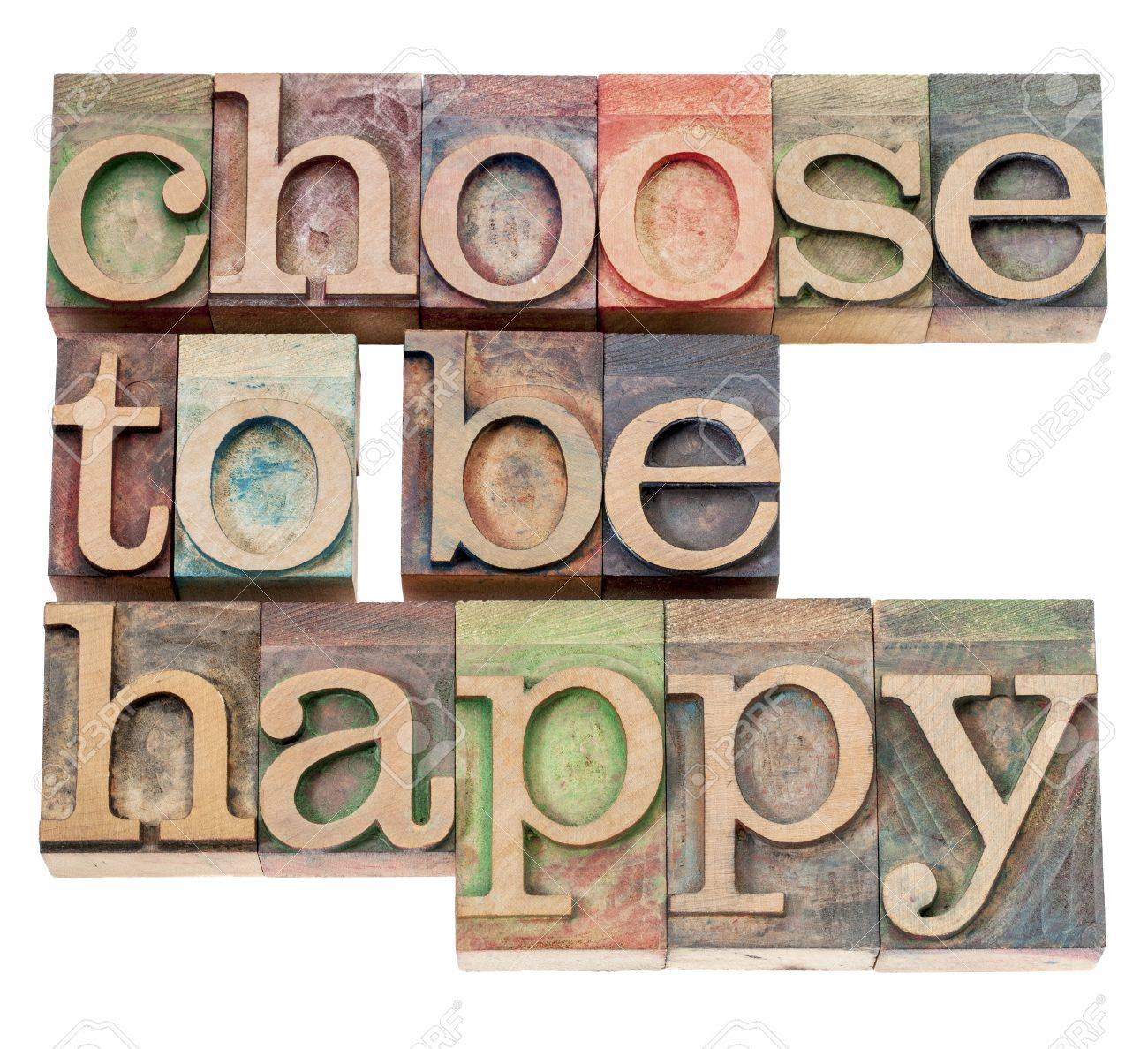 choose to be happy - positivity  concept - isolated text in vintage letterpress wood type Stock Photo - 15814409