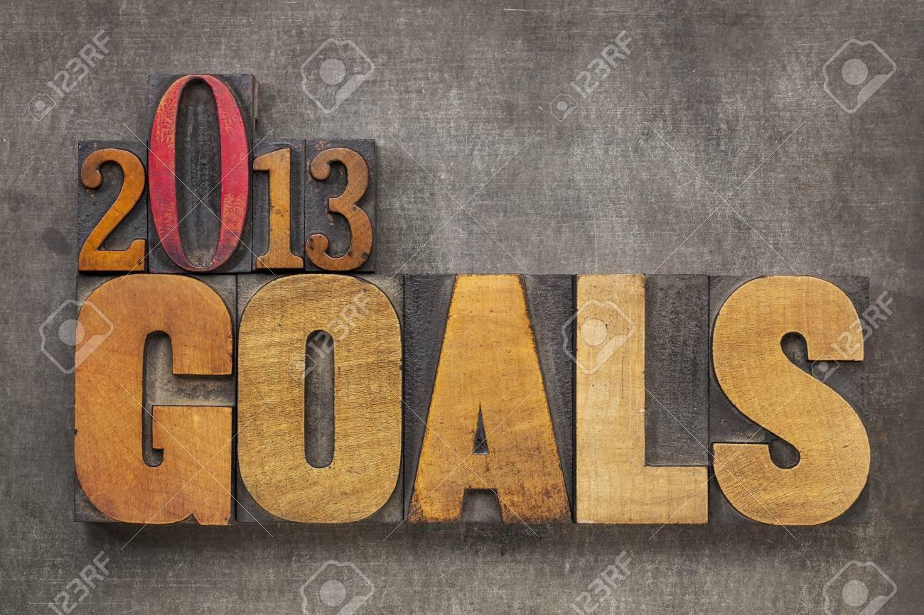 2013 goals - New Year resolution concept - text in vintage letterpress wood type blocks against grunge metal background - 16126208