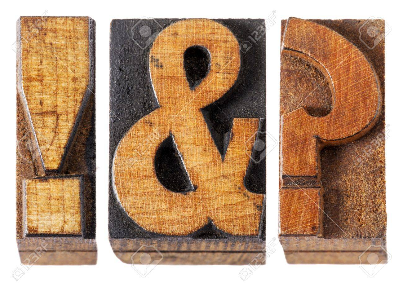 exclamation point , question mark and ampersand - isolated vintage letterpress wood type blocks Stock Photo - 16429843