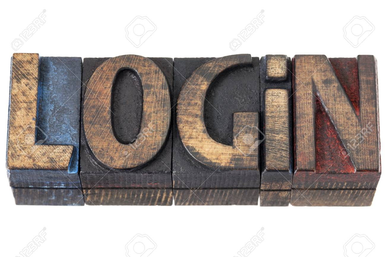 login - isolated word in vintage letterpress wood type blocks Stock Photo - 16429846