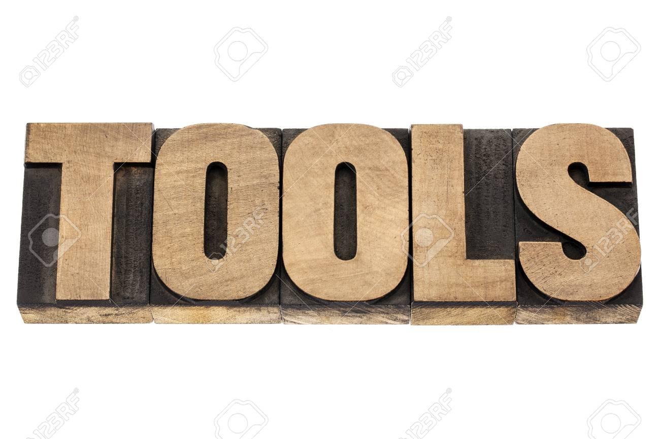 tools - isolated word in vintage letterpress wood type blocks Stock Photo - 16429850