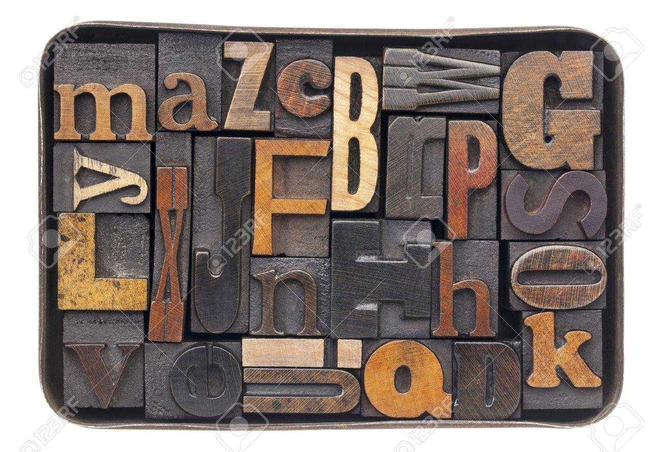 Old Metal Letters Vintage Letterpress Wood Type Blocks With Ink Patina  All 26