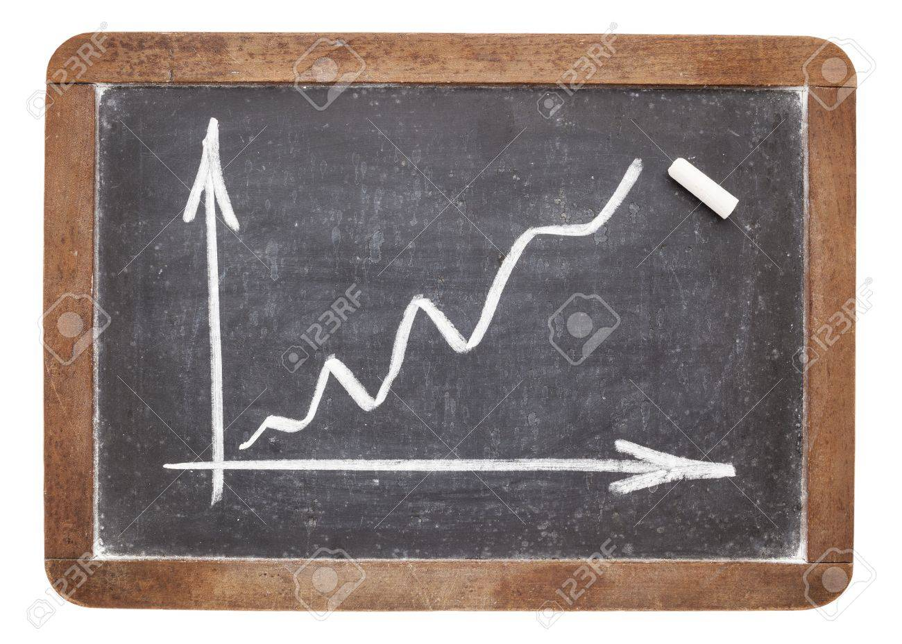 growth graph - white chalk drawing on vintage slate blackboard Stock Photo - 16645606