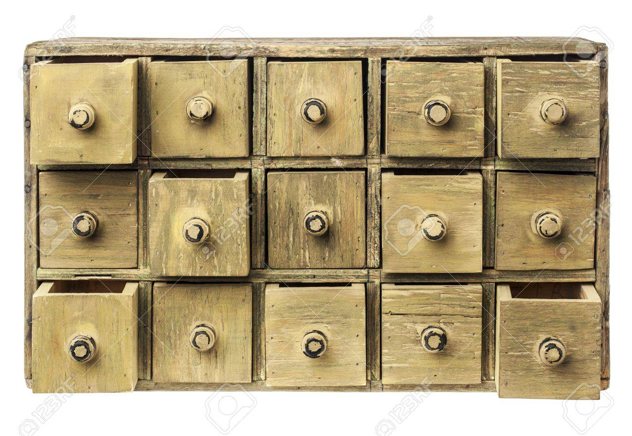 Primitive Wooden Apothecary Or Catalog Cabinet With Partially Open Drawers    Storage Or Sorting Concept Stock