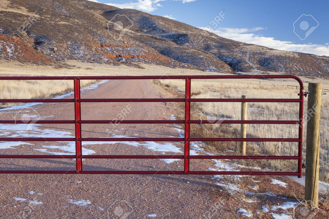 closet gate on a ranch road in a mountain valley - Red Mountain Open Space, Colorado Stock Photo - 17018039