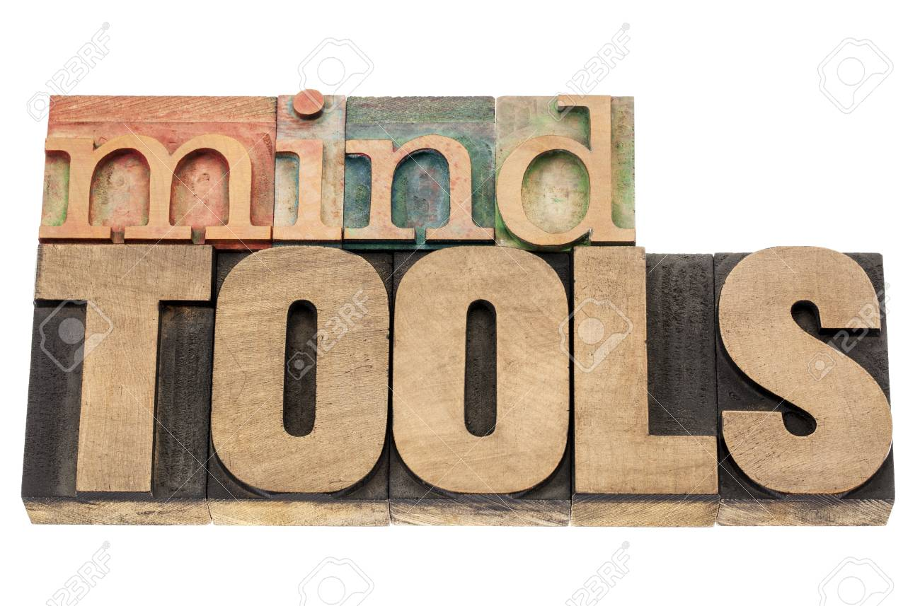 mind tools - isolated words in vintage letterpress wood type blocks Stock Photo - 17067698