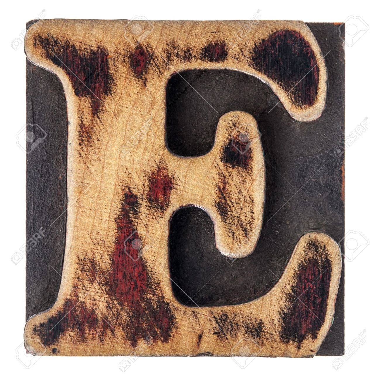 letter E in isolated vintage letterpress wood type printing block Stock Photo - 17155623