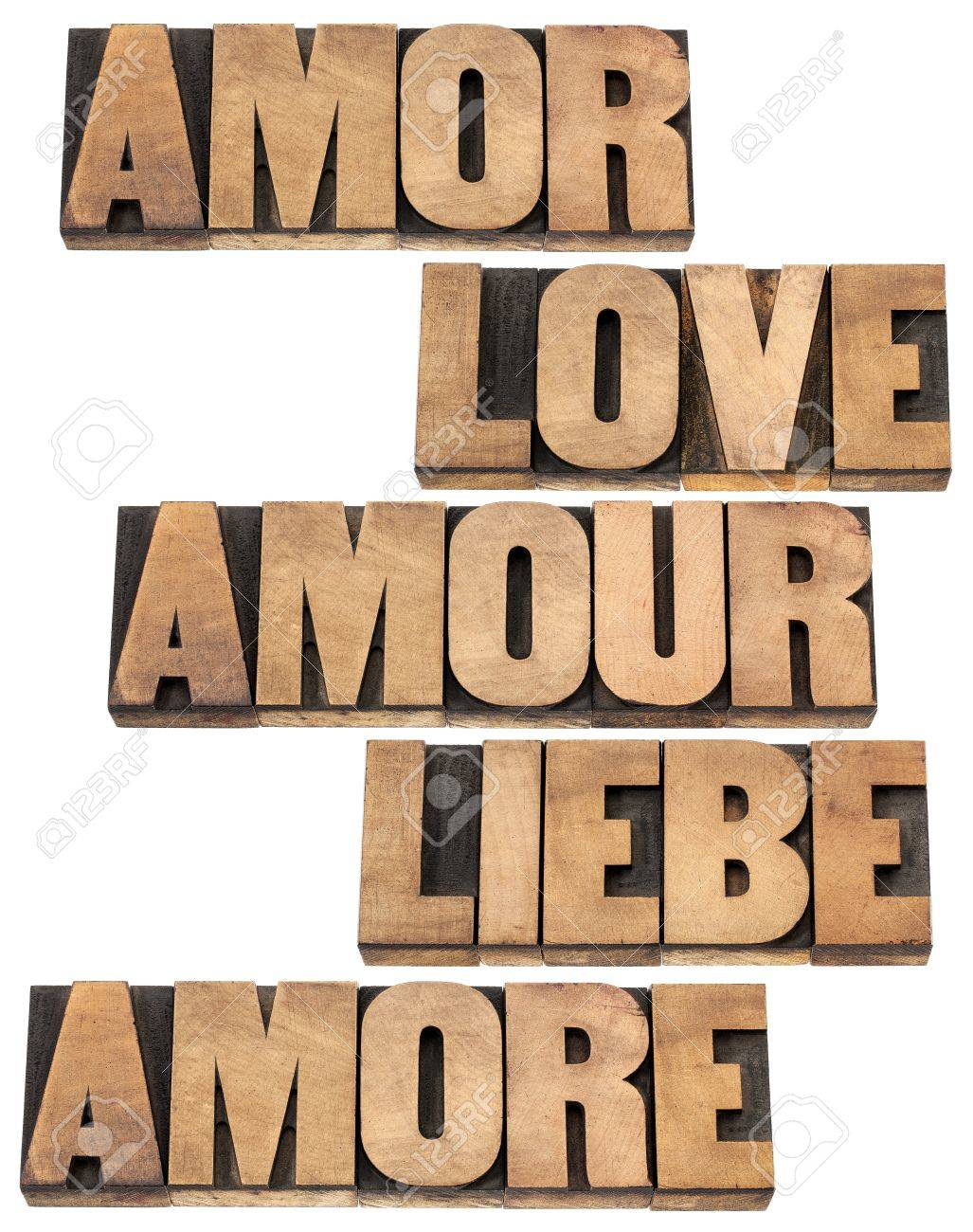 Love Word In  Languages English Spanish German French And Italian
