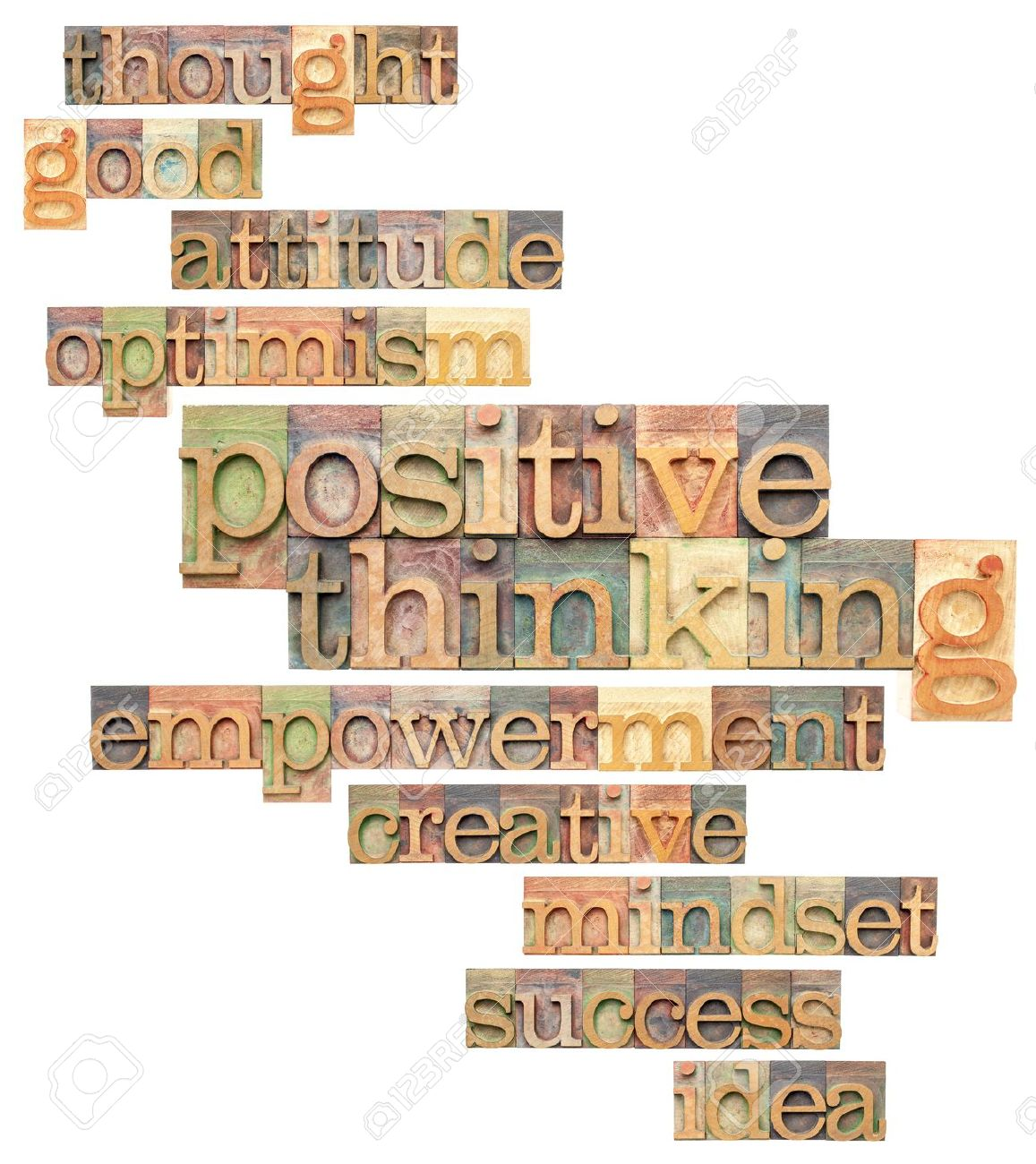 positive thinking and related words - a collage of isolated text in vintage letterpress printing blocks Stock Photo - 17806574