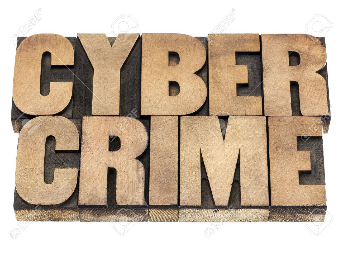 cyber crime - isolated text in vintage letterpress wood type printing blocks Stock Photo - 18083309