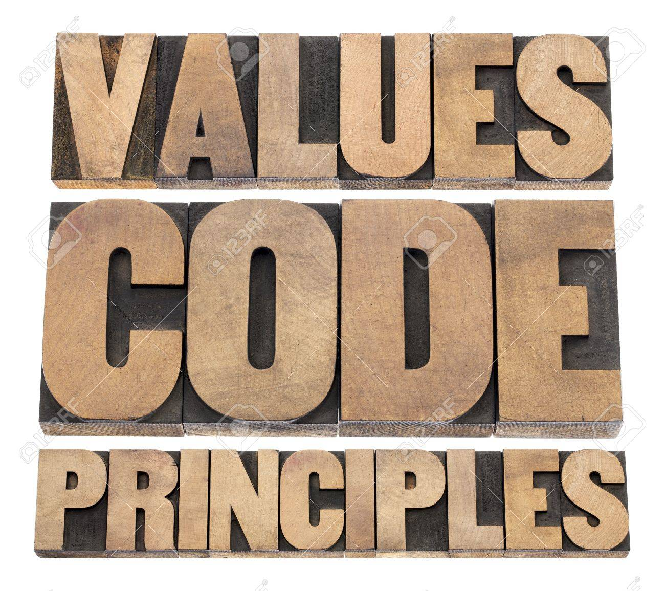 values, code, principles words - a collage of isolated text in vintage letterpress wood type printing blocks Stock Photo - 18083323