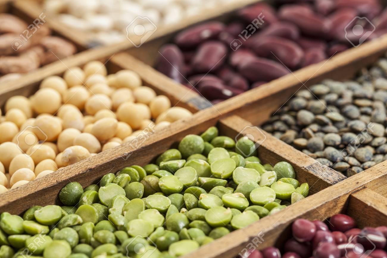 legumes in box abstract with a selective focus on green pea, shallow depth of field Stock Photo - 18792211