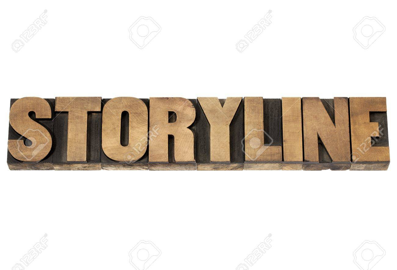 storyline word - narration or storytelling concept - isolated text in vintage letterpress wood type printing blocks Stock Photo - 19323200