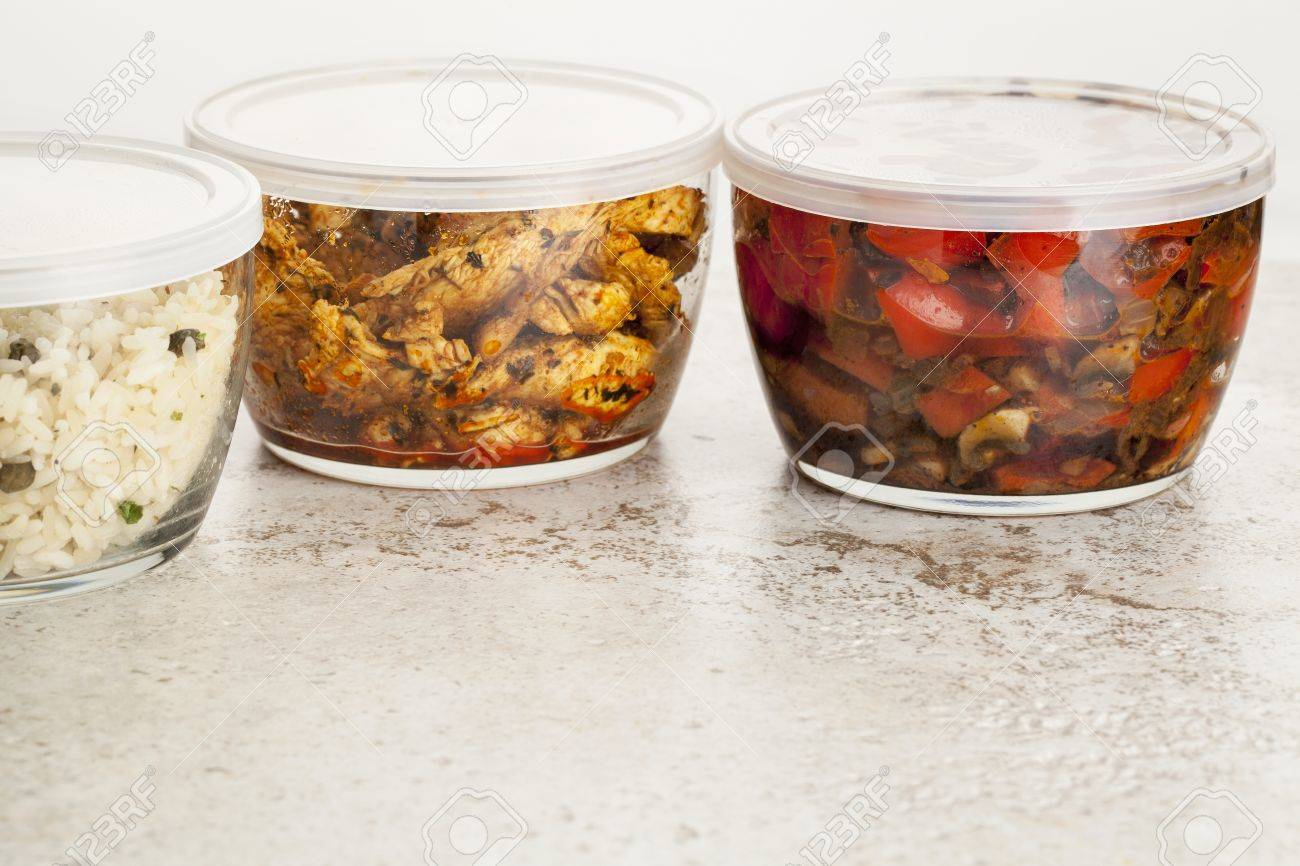 stir fry dinner meal or leftovers stored in glass containers Stock Photo - 20832407