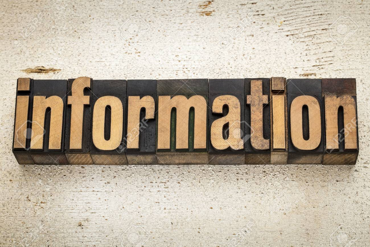 information word in vintage letterpress wood type on a grunge painted barn wood background Stock Photo - 20832415