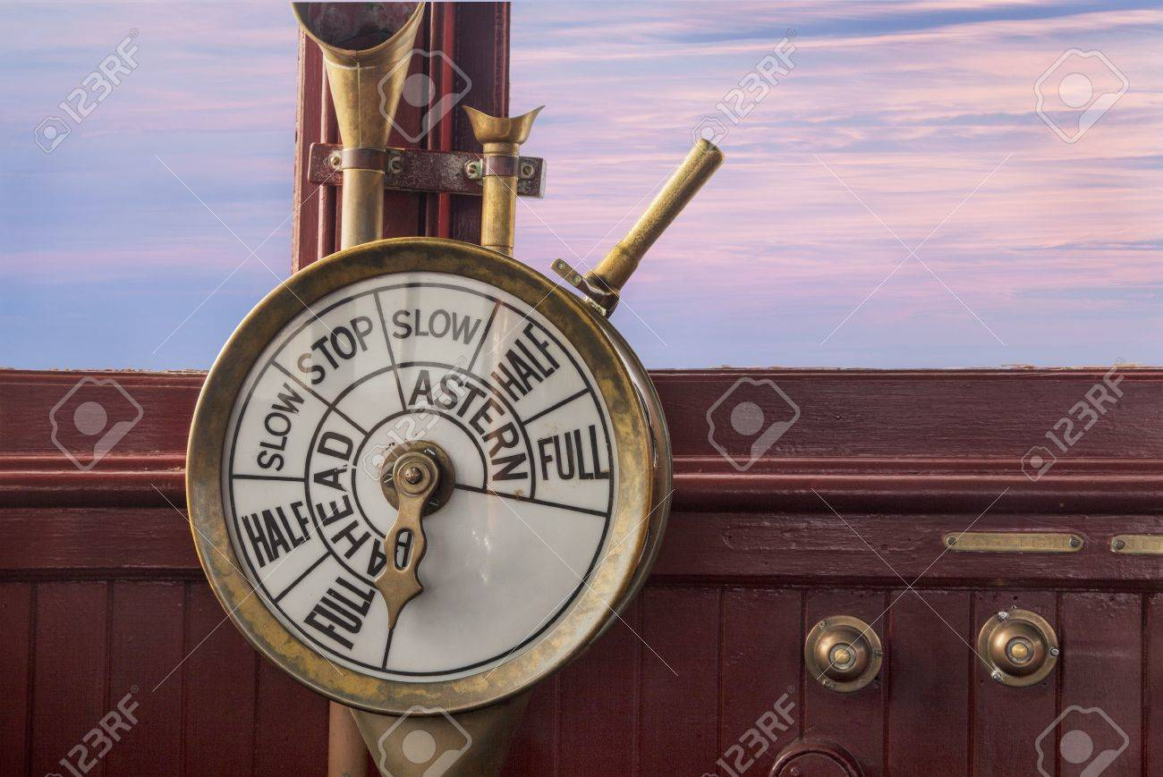 engine controls (telegraph) on a vintage ship bridge Stock Photo - 20832440