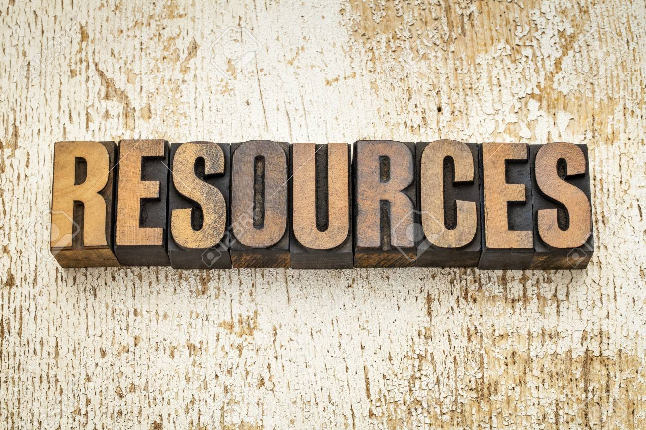 resources  word in vintage letterpress wood type on a grunge painted barn wood background Stock Photo - 21642102