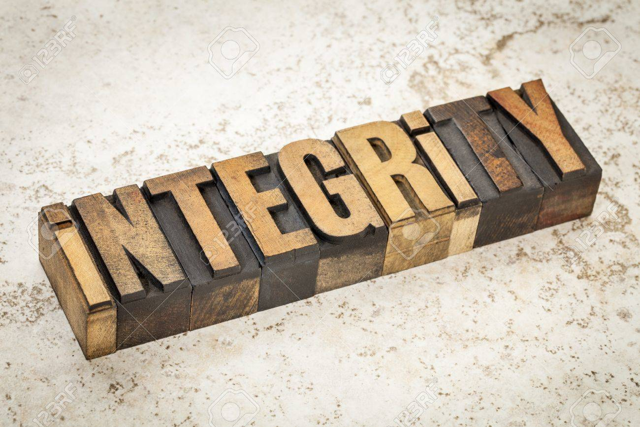 integrity word in vintage letterpress wood type on a ceramic tile background Stock Photo - 21642130