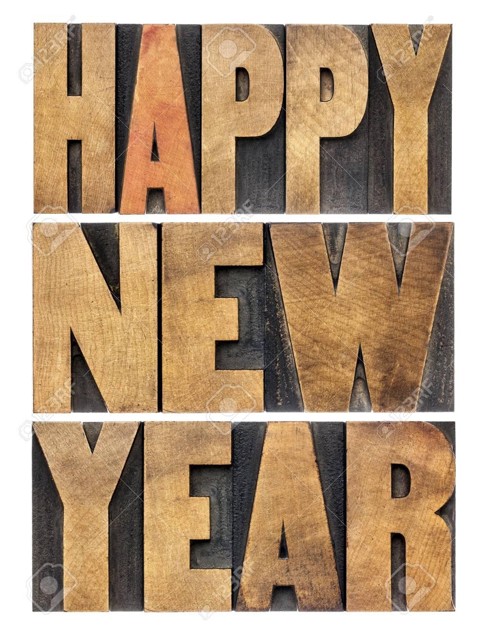 Frohes Neues Jahr Grüße Oder Wünsche - Isoliert Text Im Buchdruck ...