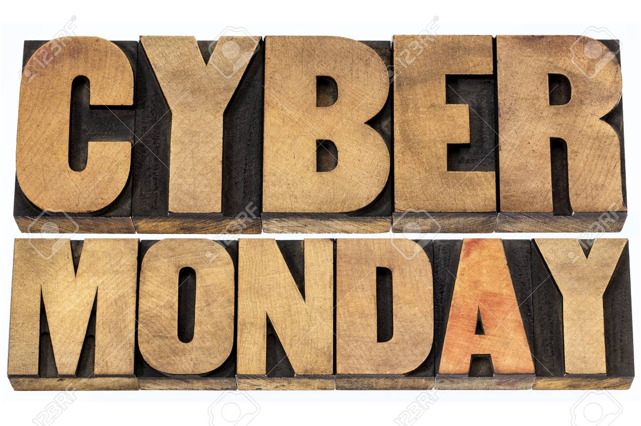 Cyber Monday - online shopping and marketing concept - isolated text in letterpress wood type blocks Stock Photo - 22443328