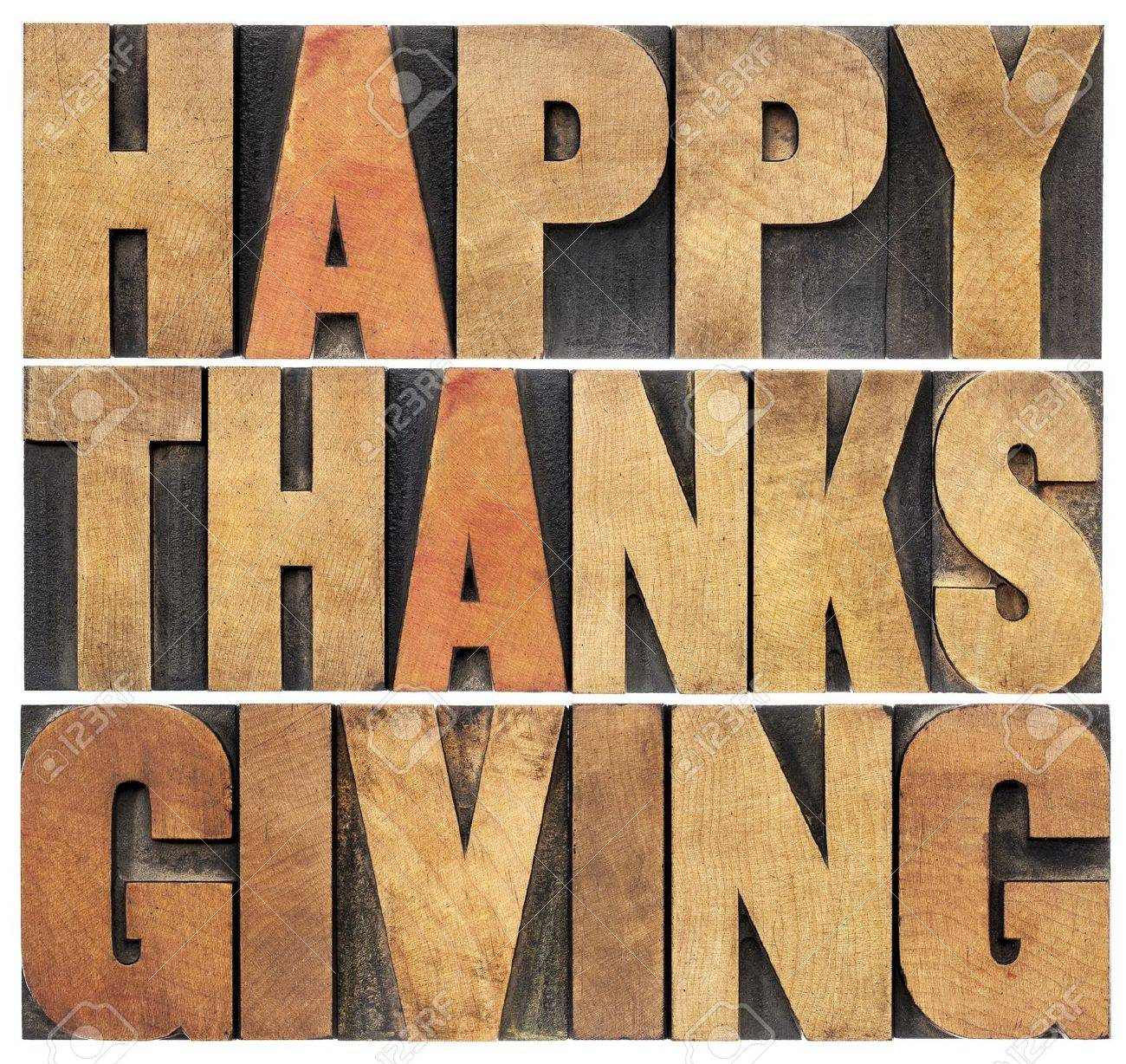Happy Thanksgiving  - isolated text in vintage letterpress wood type blocks scaled to a rectangle shape Stock Photo - 22443330