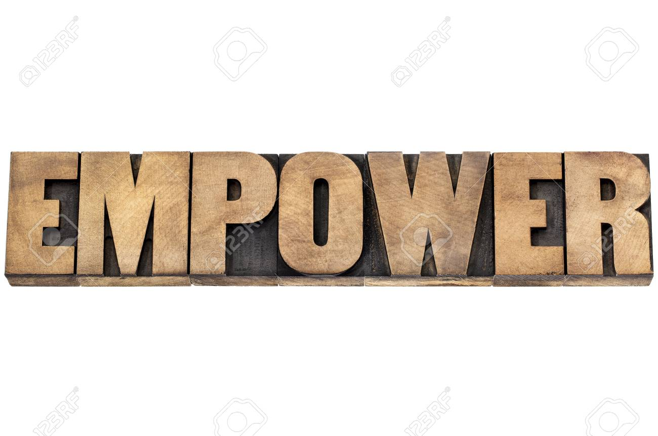 empower word - isolated text in letterpress wood type Stock Photo - 22443335
