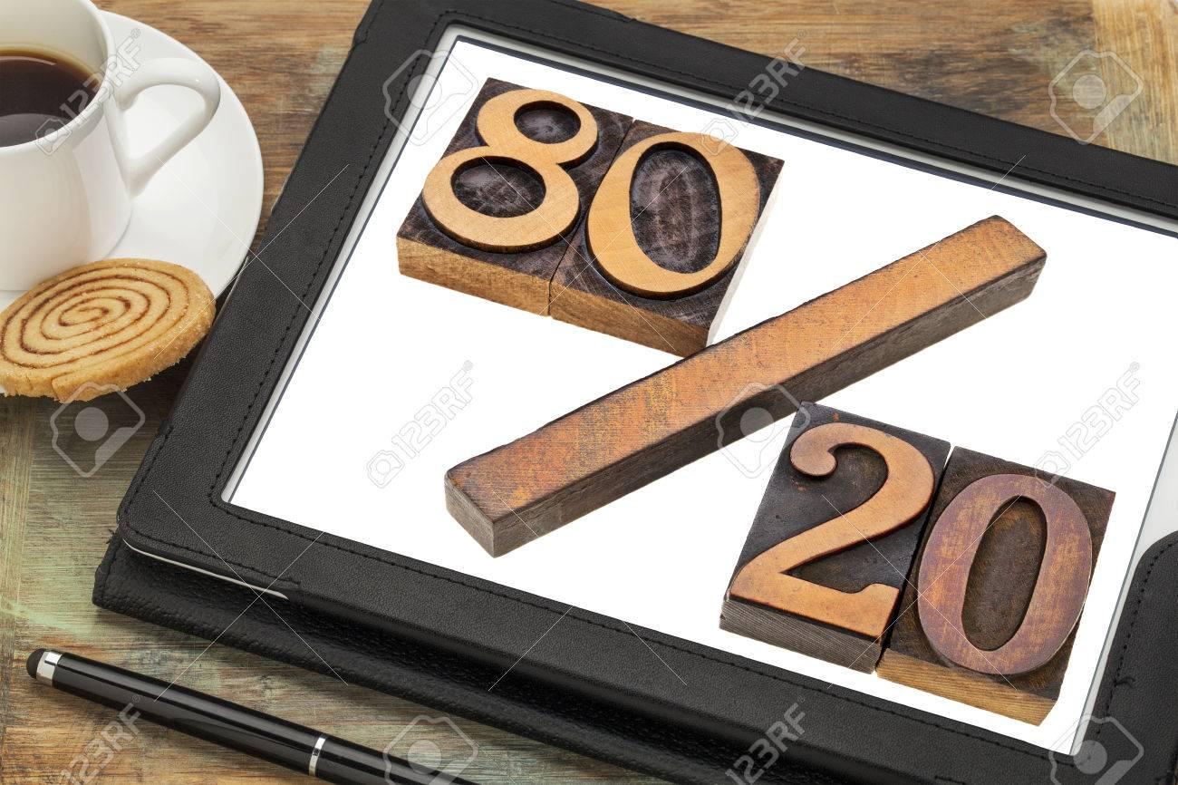 Pareto principle or eighty-twenty rule represented in wood letterpress printing blocks on a digital tablet screen Stock Photo - 24876210