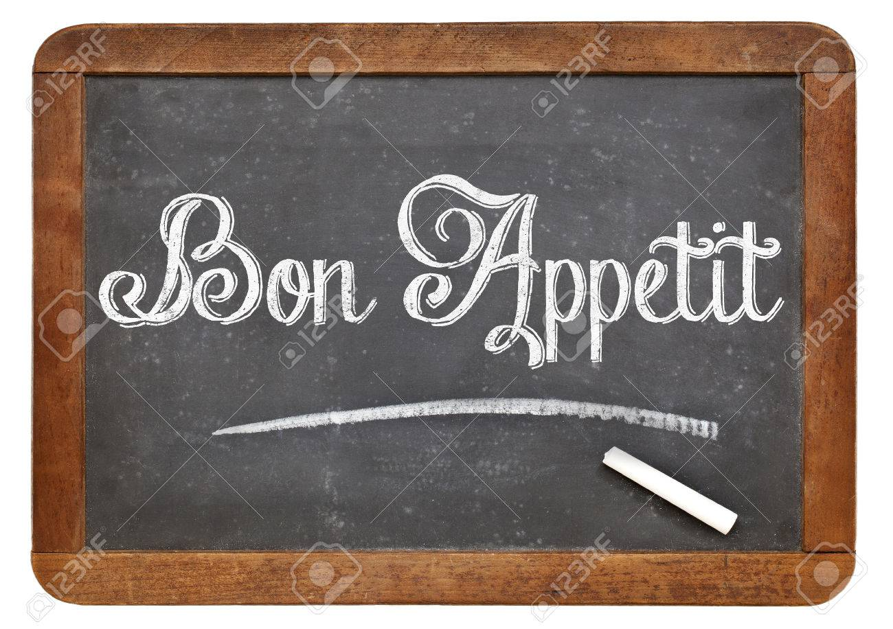 Bon Appetit - white chalk text on a vintage slate blackboard Stock Photo - 24876214