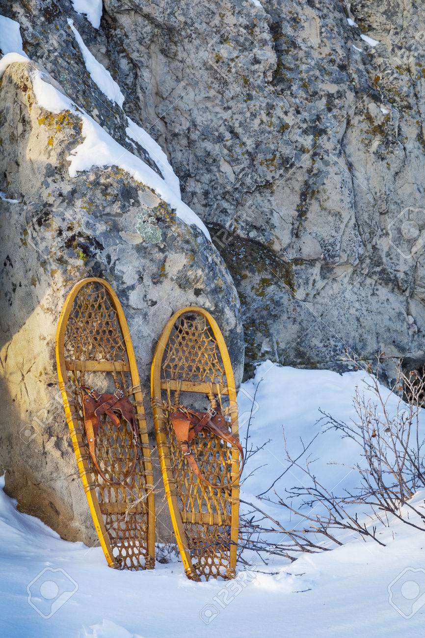 Vintage Wooden Bear Paw Snowshoes In Colorado Winter Landscape Stock Photo Picture And Royalty Free Image Image 25759391