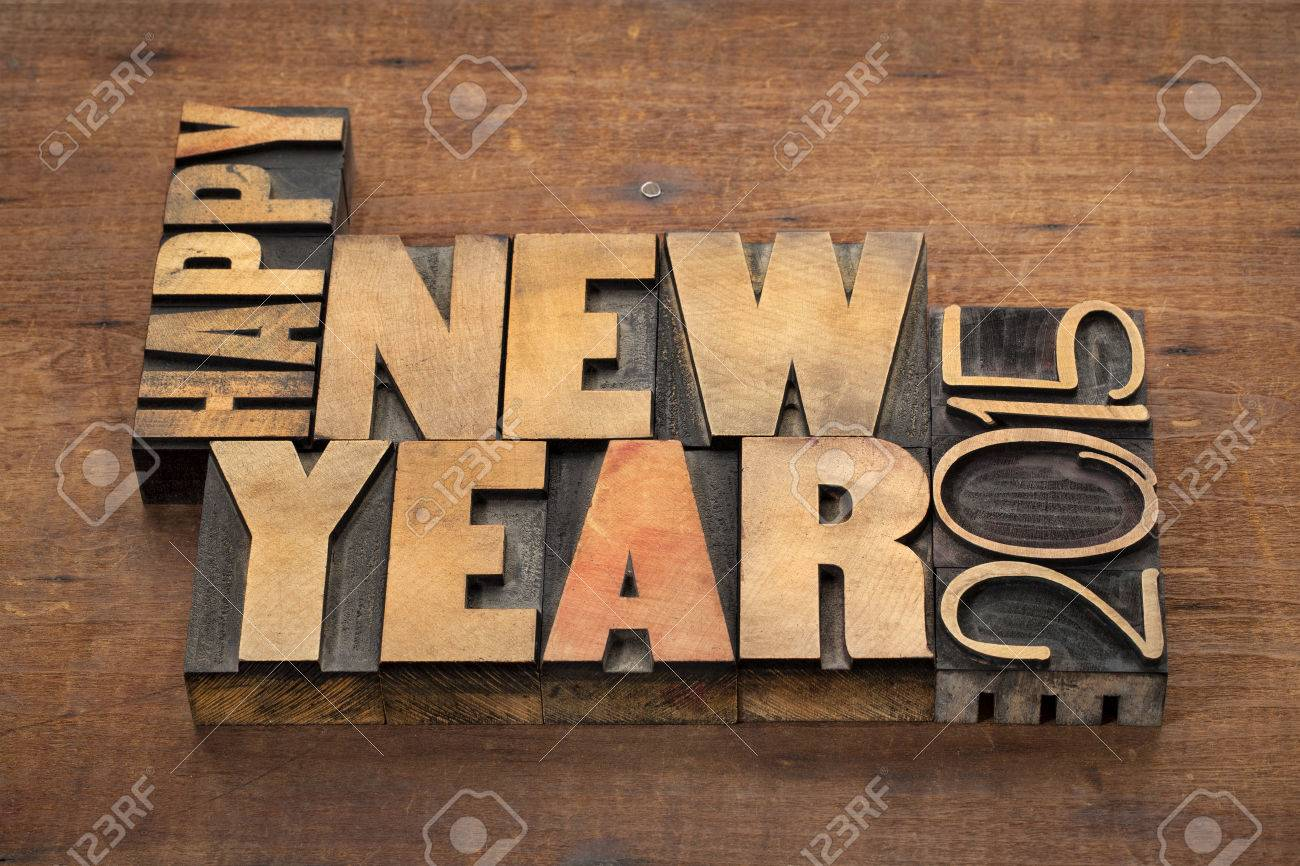 Happy New Year 2015 Greetings Text In Vintage Letterpress Stock