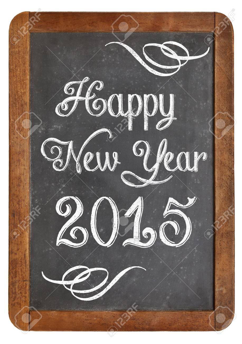 Frohes Neues Jahr 2015 Grüße Auf Einem Vintage-Schiefer Tafel ...