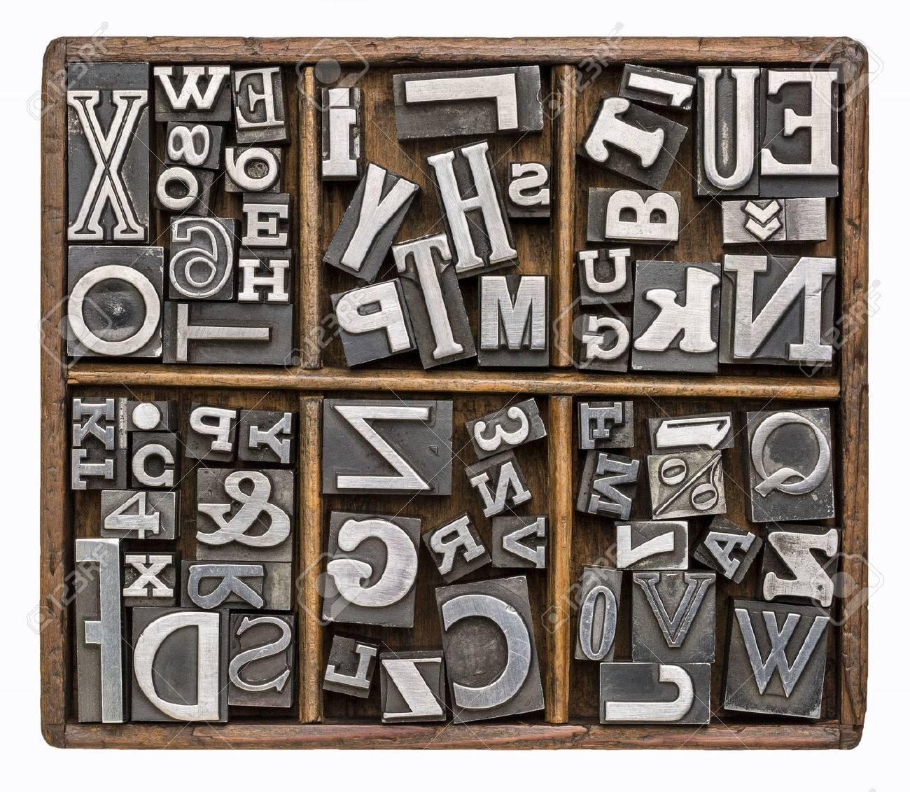 Alphabet and other symbols in old metal type printing blocks alphabet and other symbols in old metal type printing blocks in a rustic wooden typesetter box biocorpaavc