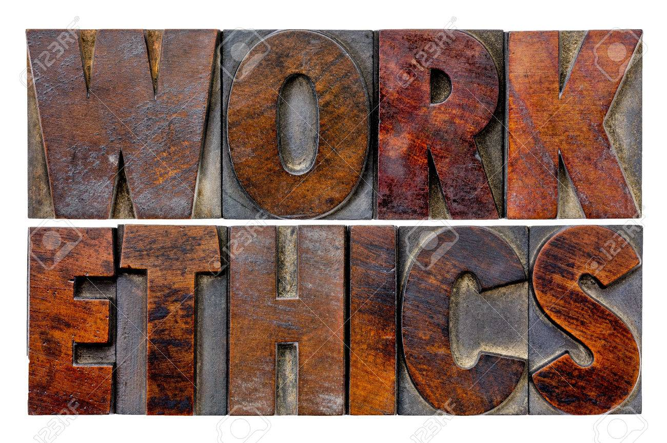 work ethics word abstract in vintage letterpress wood type blocks stock photo work ethics word abstract in vintage letterpress wood type blocks ink patina