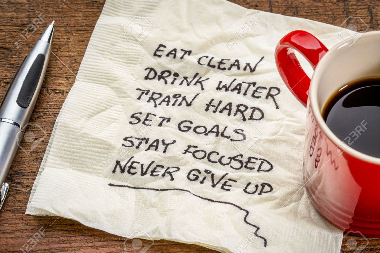 healthy lifestyle tips - handwriting on a napkin with a cup of coffee Stock Photo - 40526133
